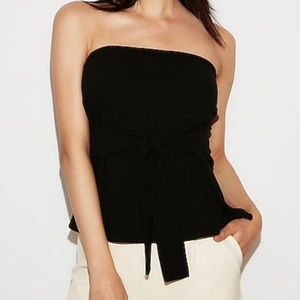 Express black tie front tube top